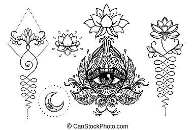 tribal, illustration., chic, tatouage, décoratif, boho, template., vecteur, ésotérique, main, collection., style, dessiné, ensemble, budda, hippie, symbole, conception, elements.