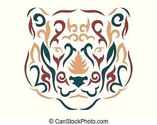 tribal, ilustração, pantera