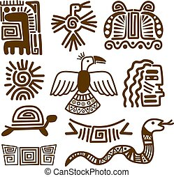 Tribal indian patterns or mexican symbols