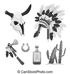 Tribal indian vector objects - buffalo skull, tomahawk -...