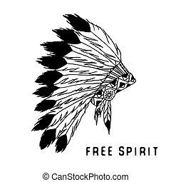 tribal, indien, style, légende