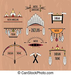 Tribal labels set colored