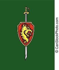 tribal, leão, espada, escudo