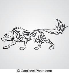tribal, loup