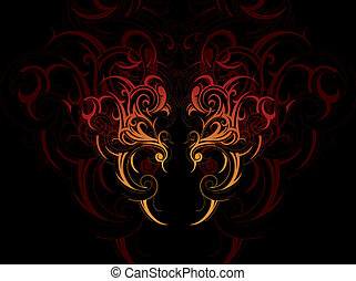 Decorative abstraction with artistic tribal art elements