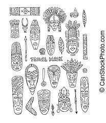 Tribal mask ethnic set, sketch for your design. Vector...