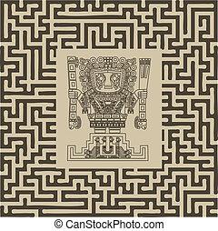 tribal, maya, symboles, inca, vecteur, labyrinthe