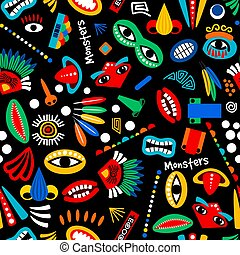 Tribal monster seamless pattern