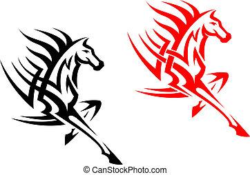 Tribal mustang stallion for mascot or tattoo design
