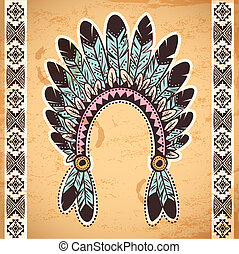 Tribal native American feather headband on vintage background