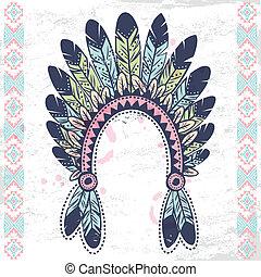 Tribal native American fetaher headband - Tribal vintage ...