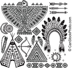 Tribal native American set of symbols - Tribal vintage ...