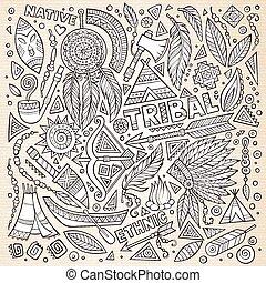 Tribal native American sketch set of symbols