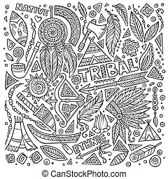 Tribal native set of symbols - Tribal abstract native...