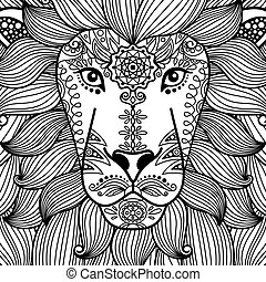 Tribal ornamental lion head