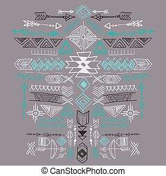 tribal, ornamento, azteca, vector, étnico, navajo