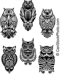 Tribal owl birds set - Isolated owl birds in tribal style...