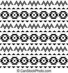 Vector folk Aztec ornament, black ethnic pattern on white