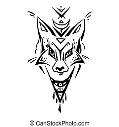 Tribal pattern Fox. Polynesian tattoo style