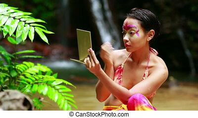 tribal, peinture, jungle, figure