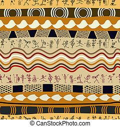 tribal, pessoas, padrão, primitivo, silhuetas, seamless