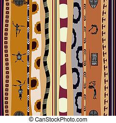 tribal, pessoas, padrão, silhuetas, seamless