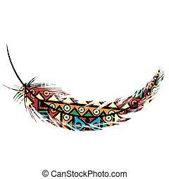 tribal, plume, motifs, ethnique