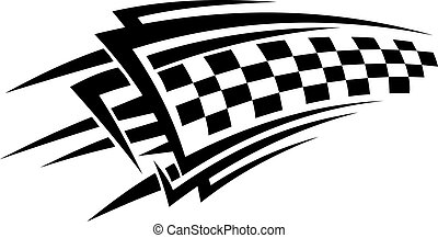 Tribal racing tattoo with checkered flag