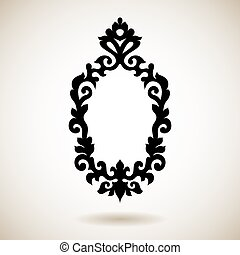 Tribal reflected black tattooed frame. Hand drawn ornamental...