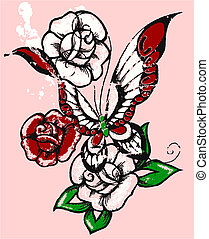 tribal rose and butterfly