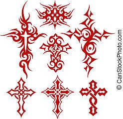 tribal, scroll, crucifixos, símbolo