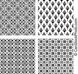 Tribal seamless black pattern set