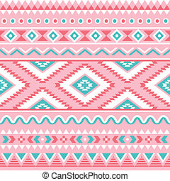 Tribal seamless pattern, Aztec pink