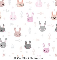 Tribal seamless pattern with cartoon rabbits. Abstract geometric art print. Hand drawn ethnic background with cute animals