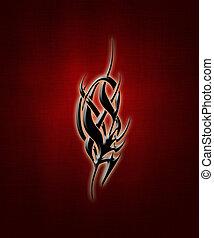 Tribal sign - illustration of a black tribal sign on a ...
