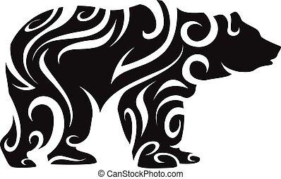 tribal, silueta, urso