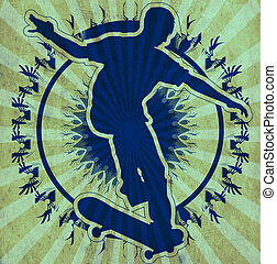 Tribal Skateboarder - A silhouette of a skateboarder on a...