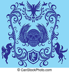 tribal skull and wings vector art