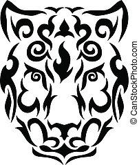 Tribal snow leopard illustration