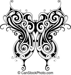 Tribal style butterfly tattoo