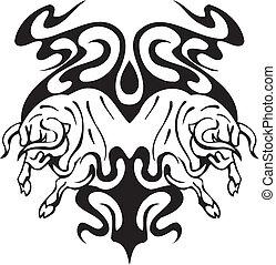 tribal, style, taureau