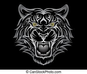 Tribal style tiger tattoo