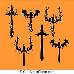 Tribal Swords Vector Silhouette