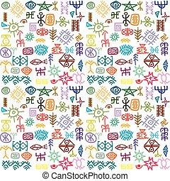 tribal, symboles, fond, coloré, ethnique
