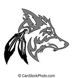 tribal, tête loup