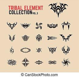 Tribal Tattoo Design Elements Set