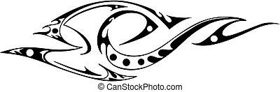 Tribal tattoo design - stylized bird. Black and white vector illustration.