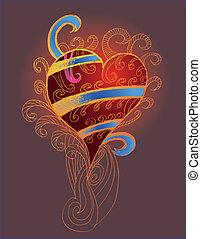 tribal tattoo hand drawing heart vector art