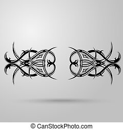 Tribal tattoo on a gray background with shadow