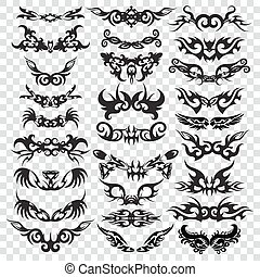 Tribal tattoo set design element.